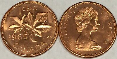 1965 Canada 1 cent MS-GEM-BU from the Mint Roll, RED Uncirculated.