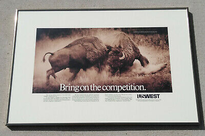 US WEST Baby Bell Telephone Framed Bison Poster 1984 Bring On the Competition