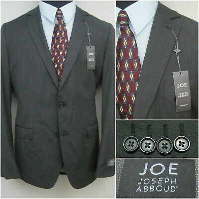 Joseph Abboud JOE Men's 40L Wool Blend 2 Btn Charcoal Gray Pinstripe Sports Coat