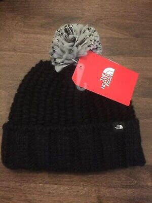 The North Face Women's Tnf Black Chunky Pom Beanie One Size New With Tags