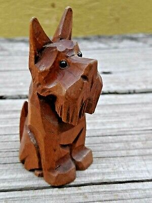 Vtg Anri? Hand Carved Wooden Small Scottish Terrier Scotty With Black Glass Eyes