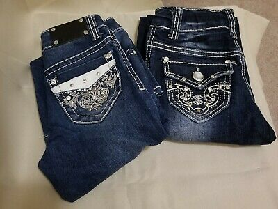 RODEO GIRL By LIZ Girl/'s Denim Jeans Embellished Bling Pockets Sizes 7 8 NWT