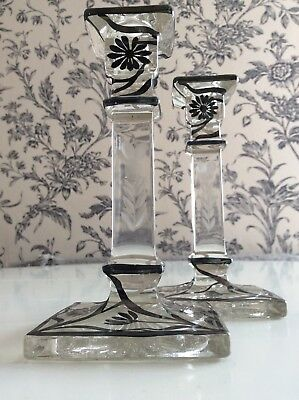 Beautiful 20Th Century Silver Overlaid Candle Holders - Pair