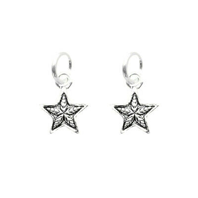 2 Pcs Solid 925 Sterling Silver Retro Small Starfish Star Charms Pendants