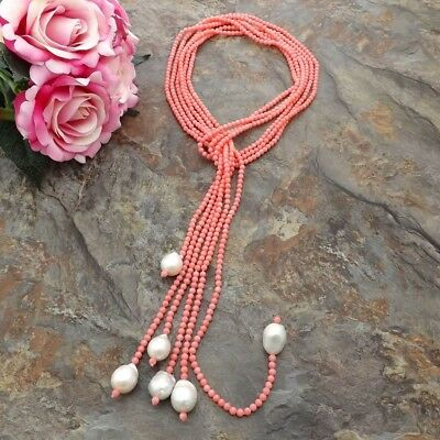 3Strands Pink Coral  White Keshi Pearl Necklace