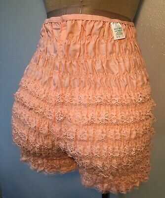 Vintage Partners Please Lace Ruffle Bloomer Tap Panties Peach Size Large NEW