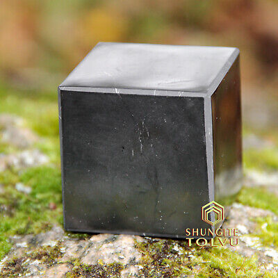 Shungite Cube Polished Various of Size Made of Natural Russian Rare Stone Tolvu