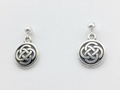 4mm Sterling Silver ball stud w/ medium Pewter Round Celtic Knot dangle Earrings
