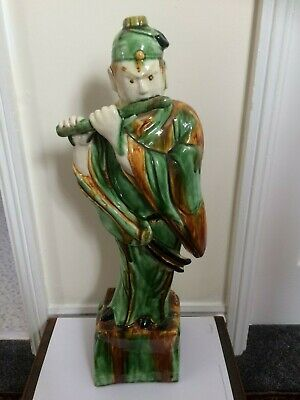 Antique / Vintage Glazed Porcelain Oriental Male Figure