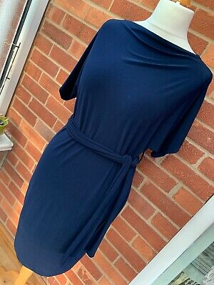 Next Navy Blue Maternity Dress Short Sleeve Ladies 12 Stretchy Smart Evening