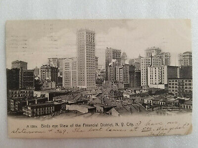 Antique 1906 Birds Eye View Of The Financial District N.y. City Postcard