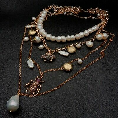 """17"""" layered chain White Pearl Cz insect multi-layer charm necklace"""