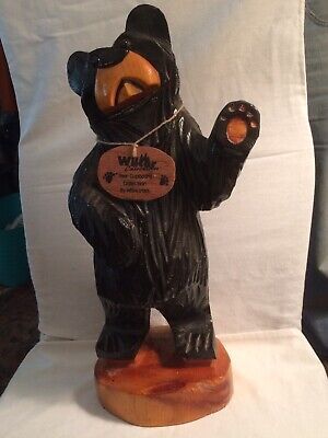 "Hand Carved Wood Black Bear Signed 20"" Tall Wilcor Collections"