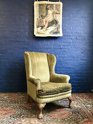 Early 20th Century Large Green Wingback Armchair With Carved Oak Claw Legs/Feet