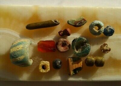 Ancient Viking. Whole and broken beads of the 14-15th century.