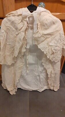 Antique (Victorian ?) Childs Cape cream broderie anglaise (Christening ? )