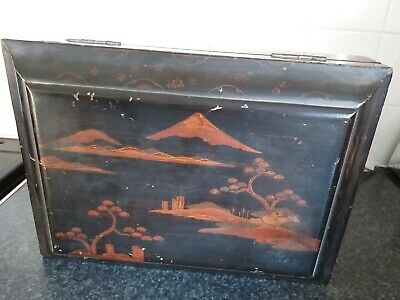 Large Vintage Chinese jewellery Box chinoiserie Lacquer Wood