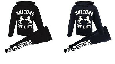 New Girls Unicorn Off Duty Tracksuit Hoodie Set Black Navy Age 7 8 9 10 11 12 13