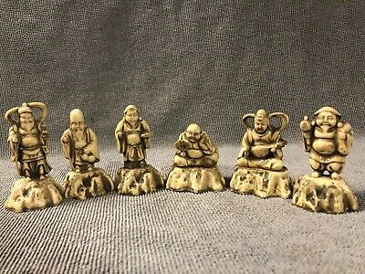 AWESOME SET Of 6 VINTAGE SMALL ORIENTAL FIGURE  JAPANESE CHINESE SYNTHETIC.