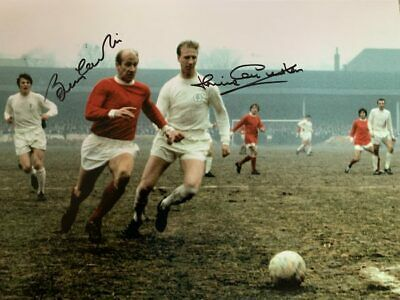 Signed Bobby Charlton Jackie Charlton Numbered Photo Manchester Leeds United