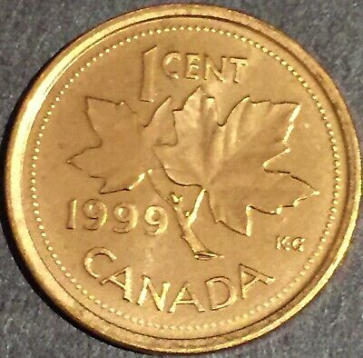 """1999 Canada 1 cent the """"N"""" Dot Variety MS-GEM-BU Brilliant Uncirculated Red."""