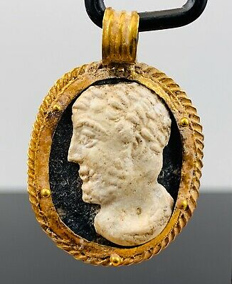 Ancient Roman Glass Cameo Pendant Of Marcus Aurelius 161-180 Ad; Stunning!
