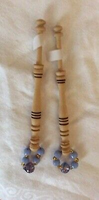 """Pr """" English Holly"""" Pyrographed Timber Spangled Lace Bobbins- 12 Cm Without Span"""