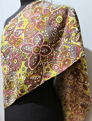 **Vintage 30 X 124cm Oblong Yellow, Red & Brown Printed Silk Scarf