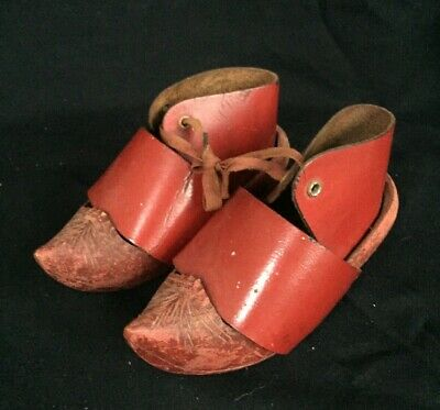 Vintage French Handmade Child's Pair Red Clogs Wooden Sabots Wood Leather Shop