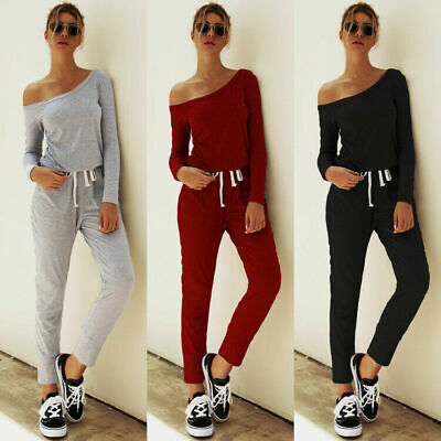 UK Women One Off Shoulder Party Playsuit Jumpsuit Ladies Tracksuits Lounge Wear