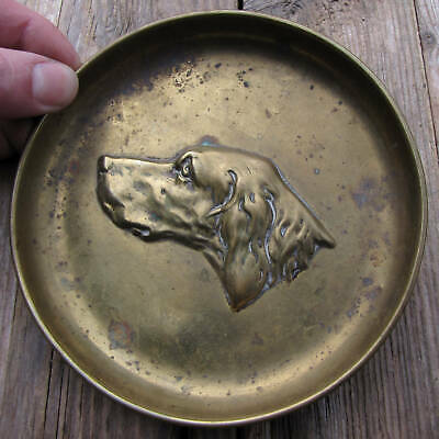 Old Pressed Brass Plated Dog Tray / Trinket Coin Dish