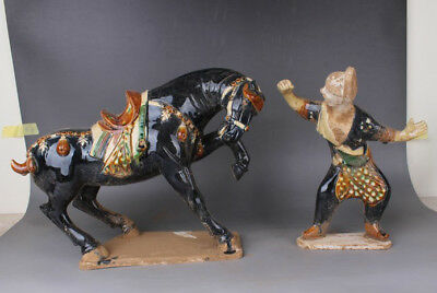 Chinese Antiques Three colors Groom and horse
