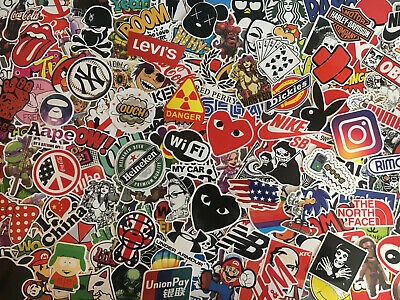 Lot de 200 stickers marques, logos, skate, rock, geek, gore, sexy, street, tag