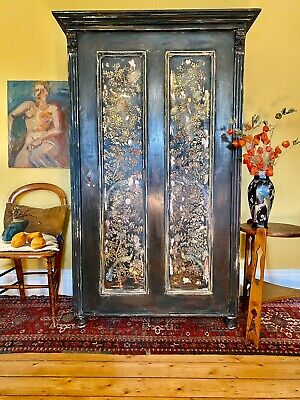 Vintage Armoire / Wardrobe With  Chinoiserie Panels