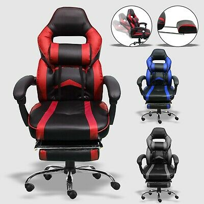 Executive Racing Gaming Computer Office Chair Leather Desk Swivel Recliner Chair