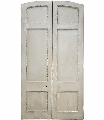 Antique french painted pine dividing doors - 289cm x 152.5cm