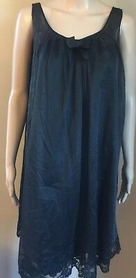 Shadowline Womans Black Vintage Nylon Sheer Overlay Small Sexy Nighty