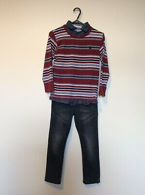 Boys Outfit Age 7-8 Jasper Conran Rugby Long Sleeve Top Black Skinny Jeans