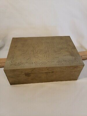 Antique Chinese Hand Chased Decorated Wood Lined Box With Vintage Dominos