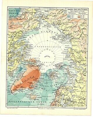 1897 Antique Color lithography print map of the North Pole Northern Hemisphere
