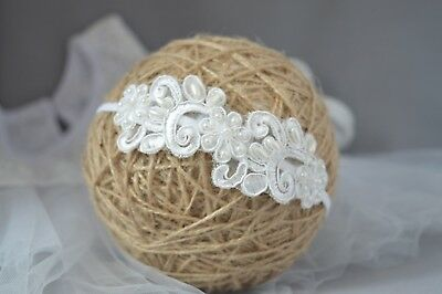 Lace headband, off white baby hair band tiara for baptism christening Handmade