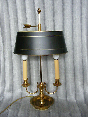 French Antique Vintage Style Brass Base & Black Metal Shade Bouillotte Lamp