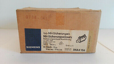Siemens 3 Piece Nh Fuse Insert Type: 3NA4 136/160A, 500V / New/Boxed