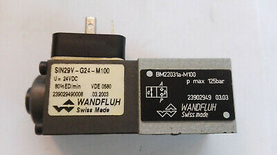Wandfluh Solenoid Valve / Type: SIN29V-G24-M100 Very Good Condition