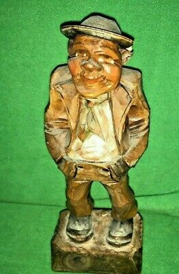 """VTG    Signed  and Numbered Steeb Hand-carved Wood Detailed  Man, 7"""" /Anri Style"""