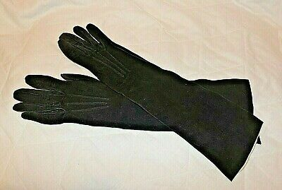Ladies Elegant Vintage Chamois   Evening Gloves By Les Gants Trefousse c1950s