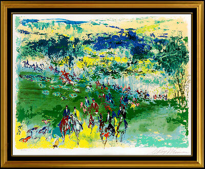 Leroy Neiman Fox Hunt Original Color Serigrafía Mano Firmado Caballo Sports Obra