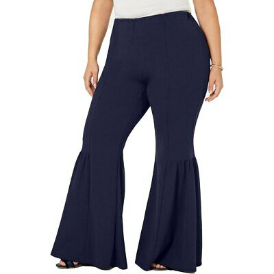 NY Collection Pants Stretch High Rise Women Navy Plus Sz 2X NEW NWT 302