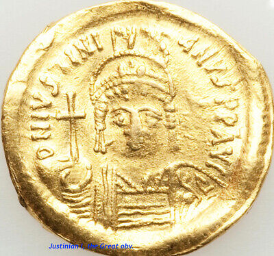Gold Solidus of the Byzantine Empire: Justinian I, the Great, WAVY/BENT FLAN