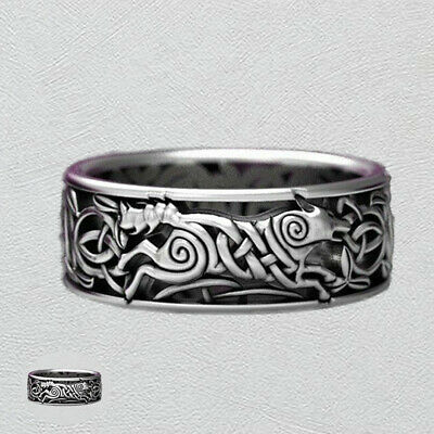 Ring Wolf Men's Wedding platedSilver Vintage Engagement Celtic Band Jewelry Knot